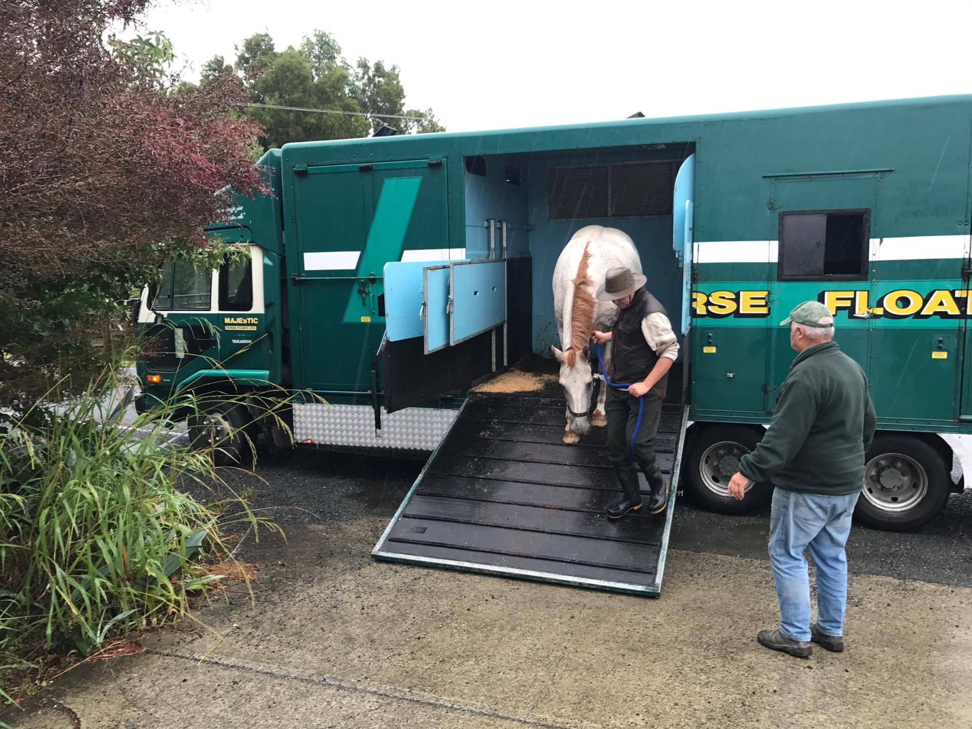 "Unloading of Ingos horse ""Rusty"""