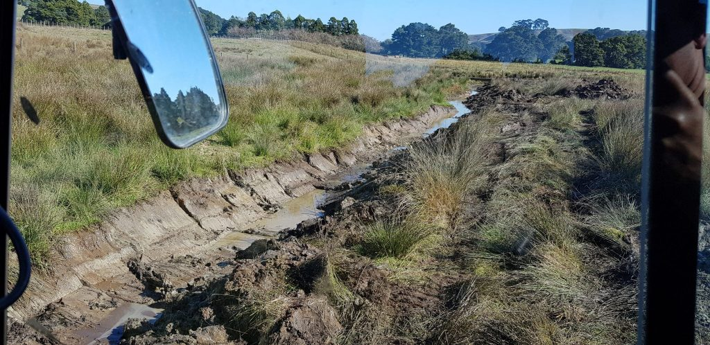 Photo of the drainage trench dug, taken from the excavator