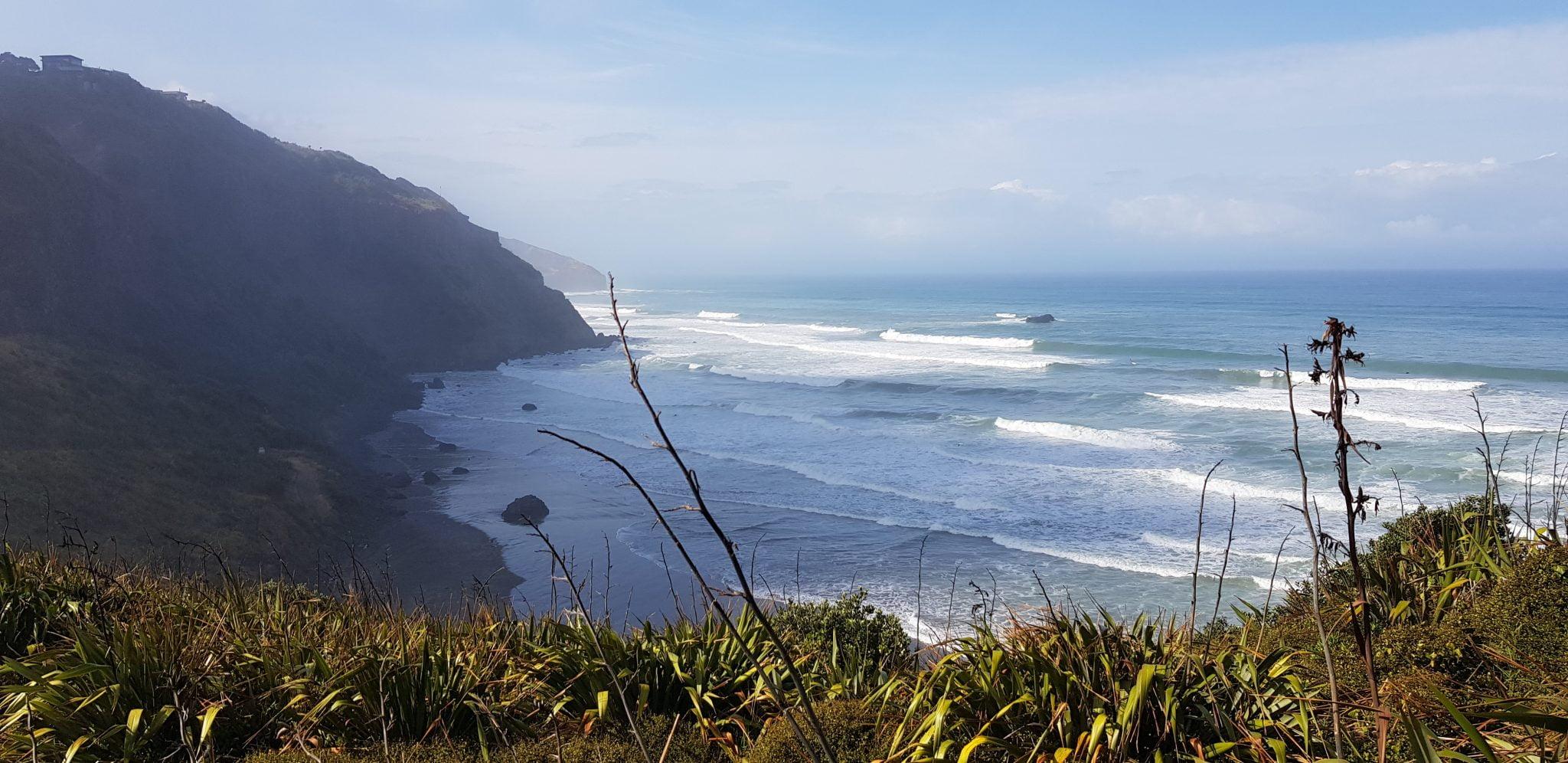 Rough black sand beach with dark cliffs and surf