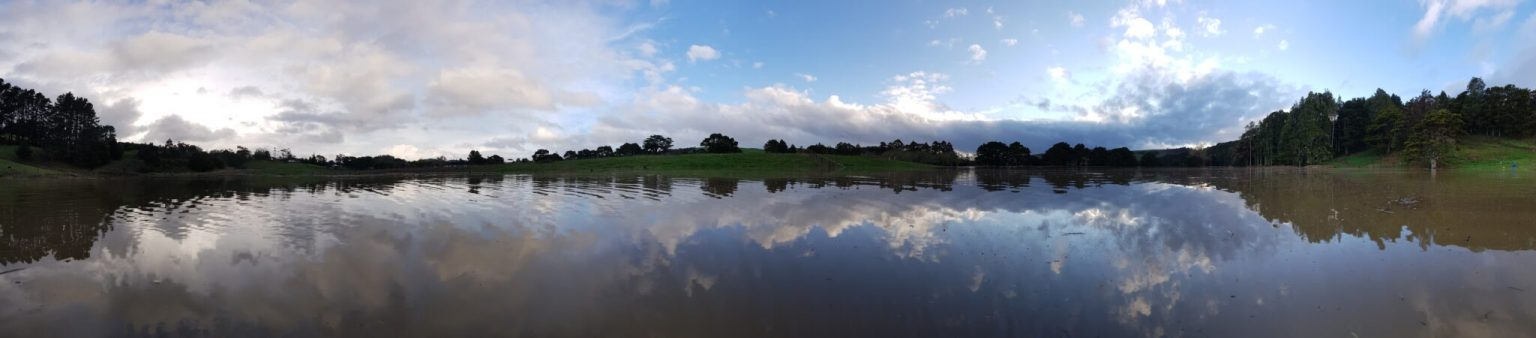 Panorama from the middle of the flooded paddock