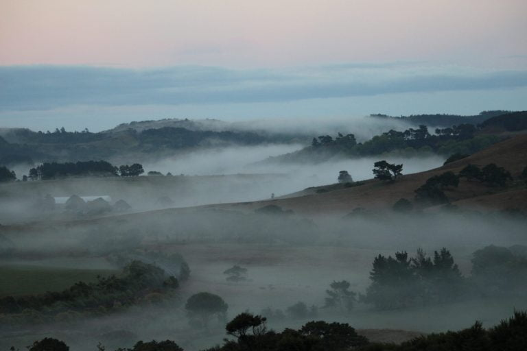 View of the valley with fog lingering over the Kaipara river meandering through the valley
